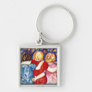 Three Sisters Silver-Colored Square Keychain