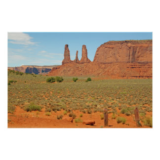 Three Sisters Stone Formation at Monument Valley Poster