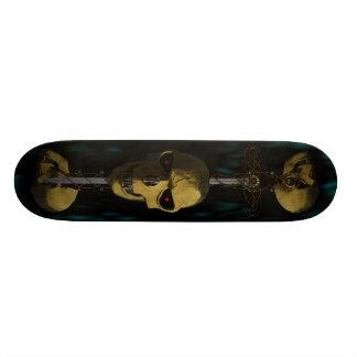 Three Skulls and a Sword Skateboard