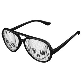 Three Skulls Design Aviator Sunglasses