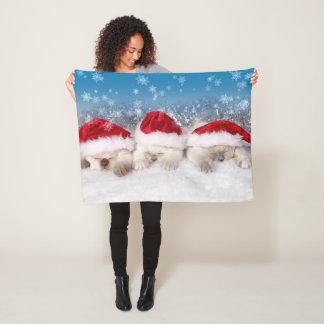 Three Sleeping Kittens Santa Hat Christmas Xmas Fleece Blanket