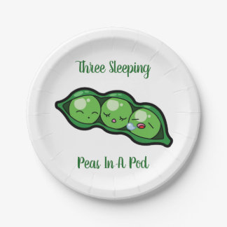 Three Sleeping Peas In A Pod Paper Plate