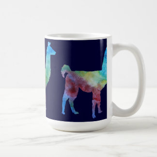 Three Slender Colorwashed Llamas Coffee Mug
