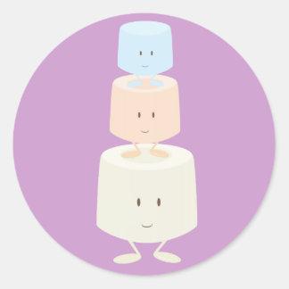 Three smiling marshmallows round sticker