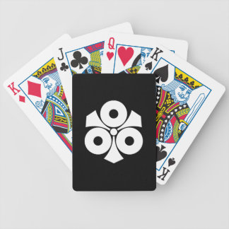 Three snake eyes with swords bicycle playing cards
