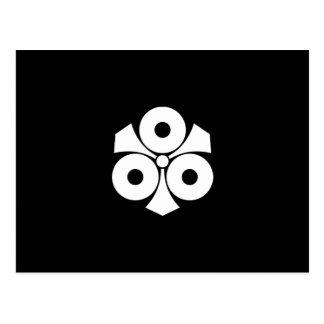 Three snake eyes with swords postcard