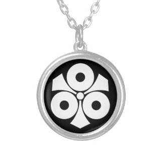 Three snake eyes with swords silver plated necklace