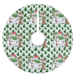 Three Snowman Carolers Brushed Polyester Tree Skirt