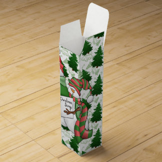 Three Snowman Carolers Wine Gift Box