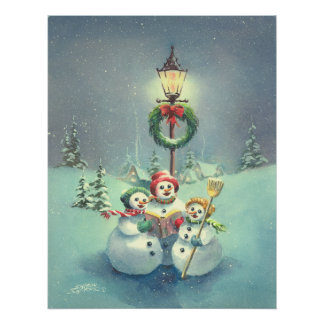 THREE SNOWMEN by SHARON SHARPE Poster