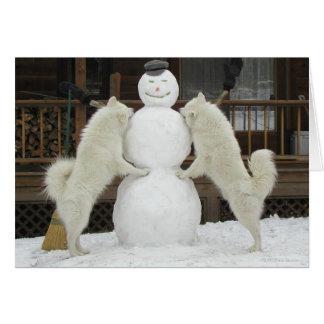"""Three Snowmen"" Greeting Card"