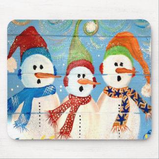 Three Snowmen Mouse Pad
