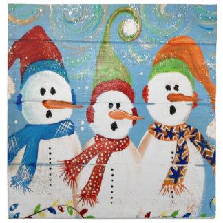Three Snowmen Napkin