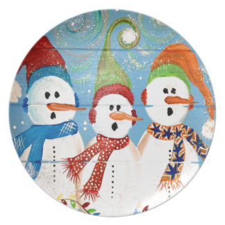 Three Snowmen Plate