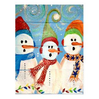 Three Snowmen Postcard