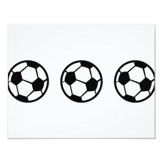"three soccer balls icon 4.25"" x 5.5"" invitation card"