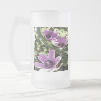 Three Spring Anemone Flowers Frosted Glass Beer Mug