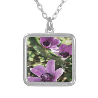Three Spring Anemone Flowers Silver Plated Necklace