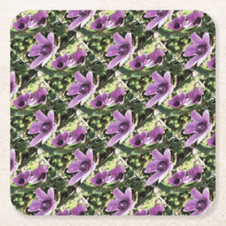 Three Spring Anemone Flowers Square Paper Coaster