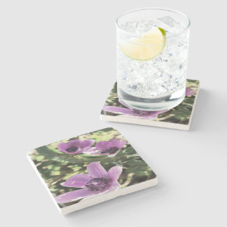 Three Spring Anemone Flowers Stone Coaster