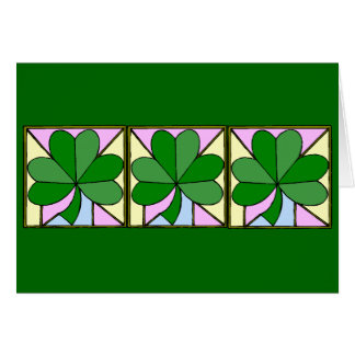 """THREE SQUARES WITH SHAMROCKS, """"ST. PATRICK'S DAY G GREETING CARD"""