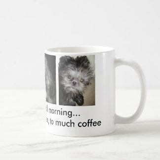three stages of morning coffee mug