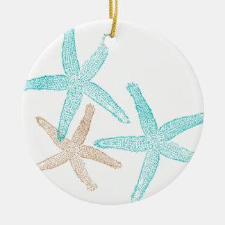 Three Starfish Teal and Tan Ceramic Ornament