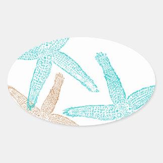 Three Starfish Teal and Tan Oval Sticker