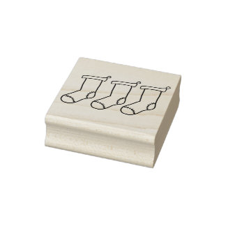 Three Stockings Wooden Block Mounted Rubber Stamp