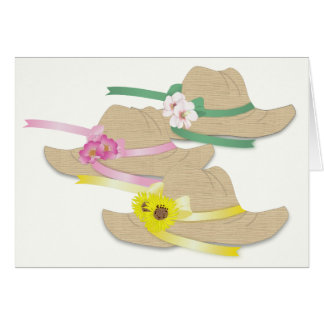 Three Straw Hats Card