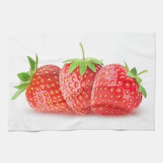 Three strawberries hand towel