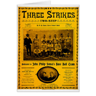 Three Strikes Two Step 1902 Vintage Sheet Music Card