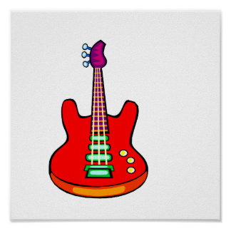 Three Stringed Bass Guitar Image Graphic Posters