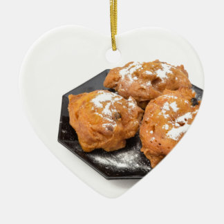 Three sugared fried fritters or oliebollen ceramic heart ornament