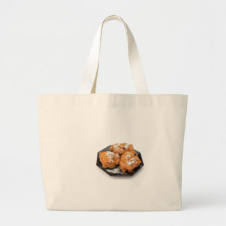 Three sugared fried fritters or oliebollen large tote bag