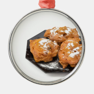 Three sugared fried fritters or oliebollen Silver-Colored round ornament