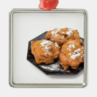 Three sugared fried fritters or oliebollen Silver-Colored square ornament