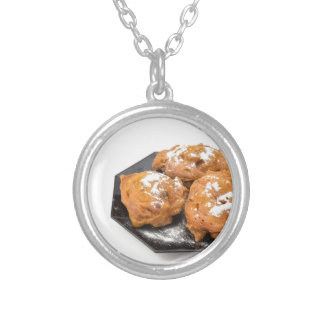 Three sugared fried fritters or oliebollen silver plated necklace