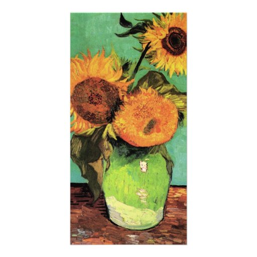 Three Sunflowers in a Vase by Vincent van Gogh Photo Card Template