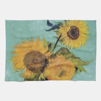 Three Sunflowers in a Vase(F453) Van Gogh Fine Art Kitchen Towel