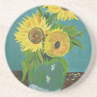 Three Sunflowers in a Vase, van Gogh Beverage Coaster