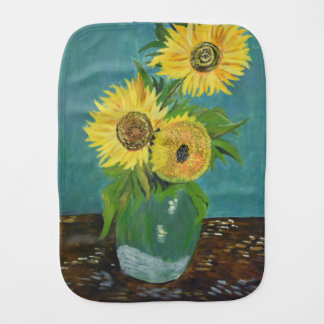 Three Sunflowers in a Vase, van Gogh Burp Cloth