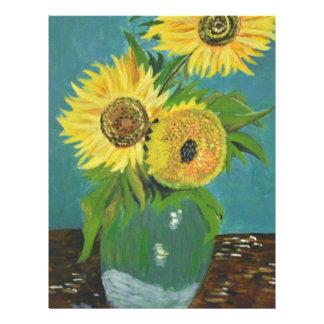 Three Sunflowers in a Vase, van Gogh Letterhead