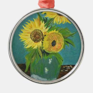 Three Sunflowers in a Vase, van Gogh Metal Ornament
