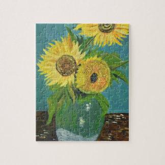 Three Sunflowers in a Vase, van Gogh Puzzles