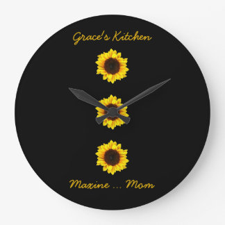 Three Sunny Sunflowers for Grace's Kitchen Large Clock