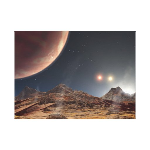 Three suns in space gallery wrap canvas