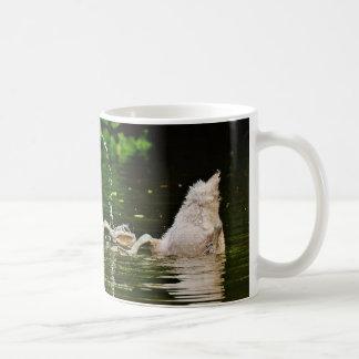 Three Swans Bottom-Up on a Lake Coffee Mug
