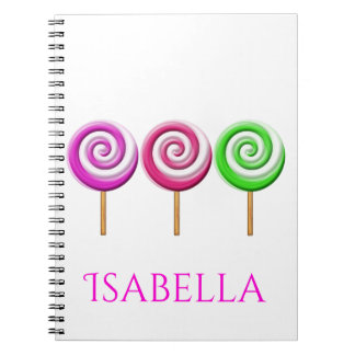 Three Swirled Lolly Pops Spiral Notebook