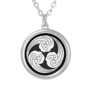 Three swirled waves silver plated necklace